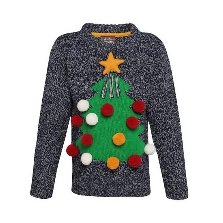 Grijze kerst trui 3D kerstboom voor kinderen 11-12 jaar (152-158)
