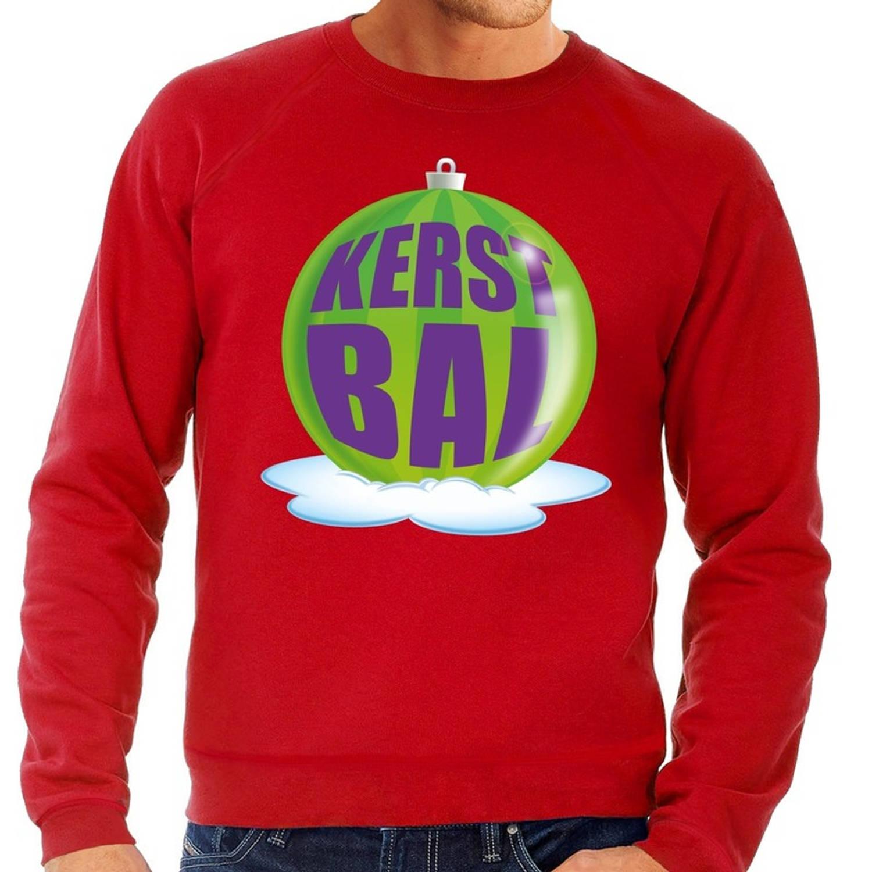 Foute kersttrui kerstbal groen op rode sweater voor heren - kersttruien M (50)