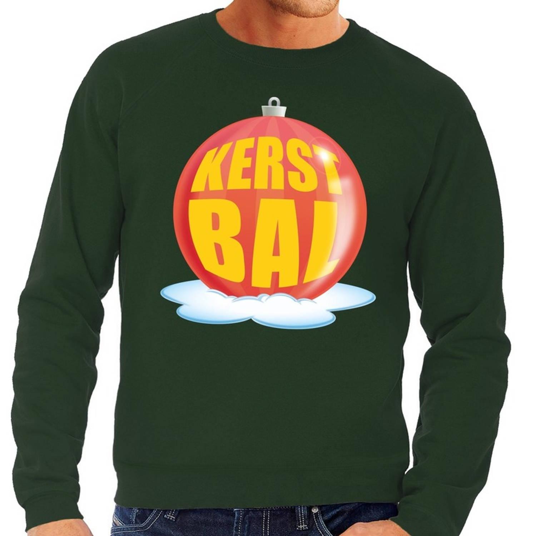 Foute kersttrui kerstbal rood op groene sweater voor heren - kersttruien XL (54)