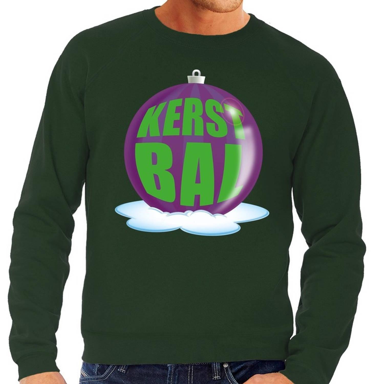 Foute kersttrui kerstbal paars op groene sweater voor heren - kersttruien XL (54)