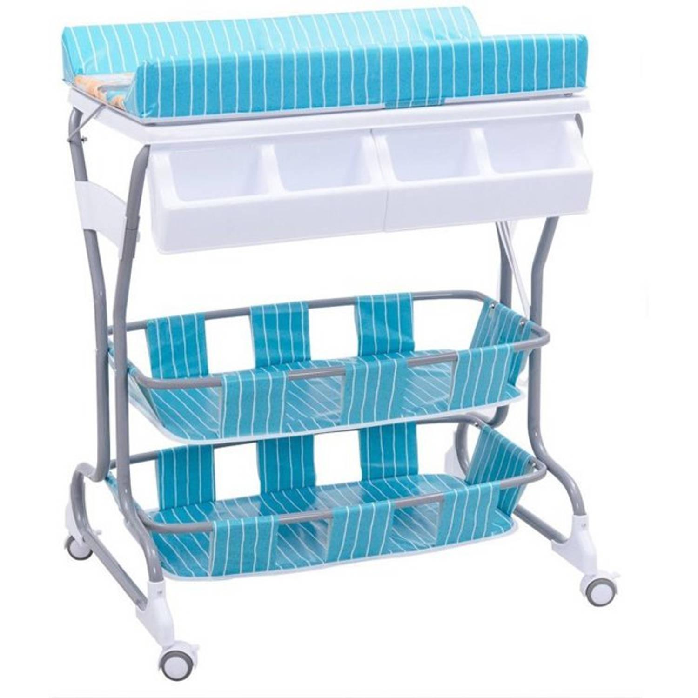 Luier Tafel Met Bad Verzorgingstafel Op Wielen Baby Aankleedtafel Badmeubel Aankleedkussen Blauw