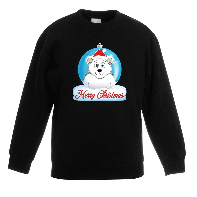 Kersttrui Merry Christmas ijsbeer kerstbal zwart jongens en meisjes - Kerstruien kind 7-8 jaar (122/128)