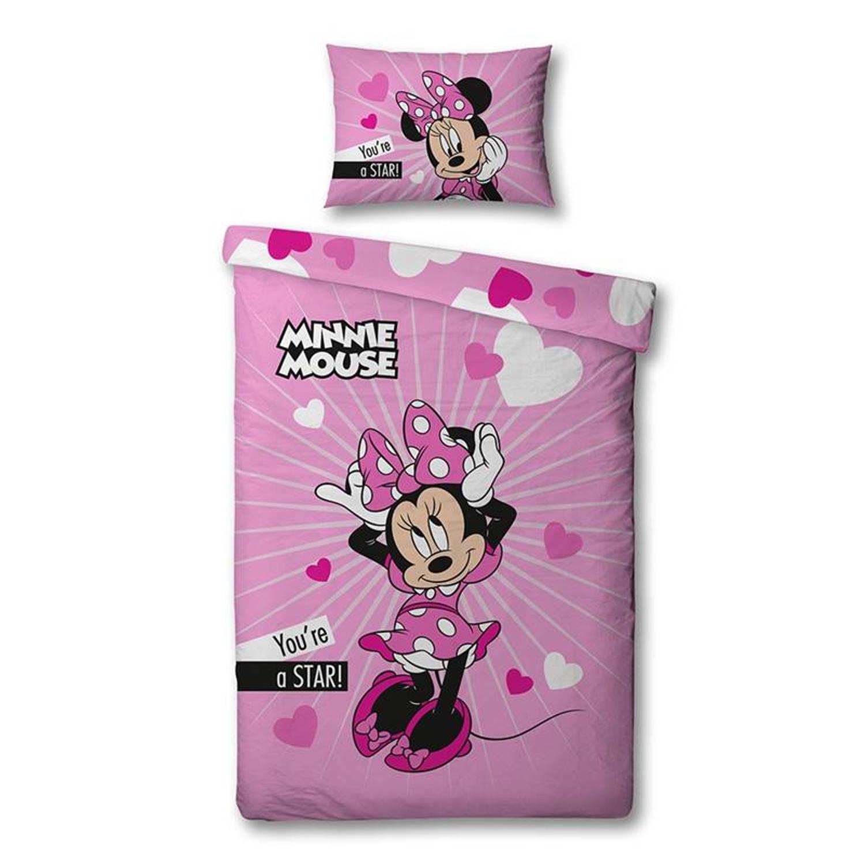 Disney Minnie dekbedovertrek 100 microvezel 1 persoons (140x200 cm 1 sloop) 1 stuk (60x70 cm) Roze