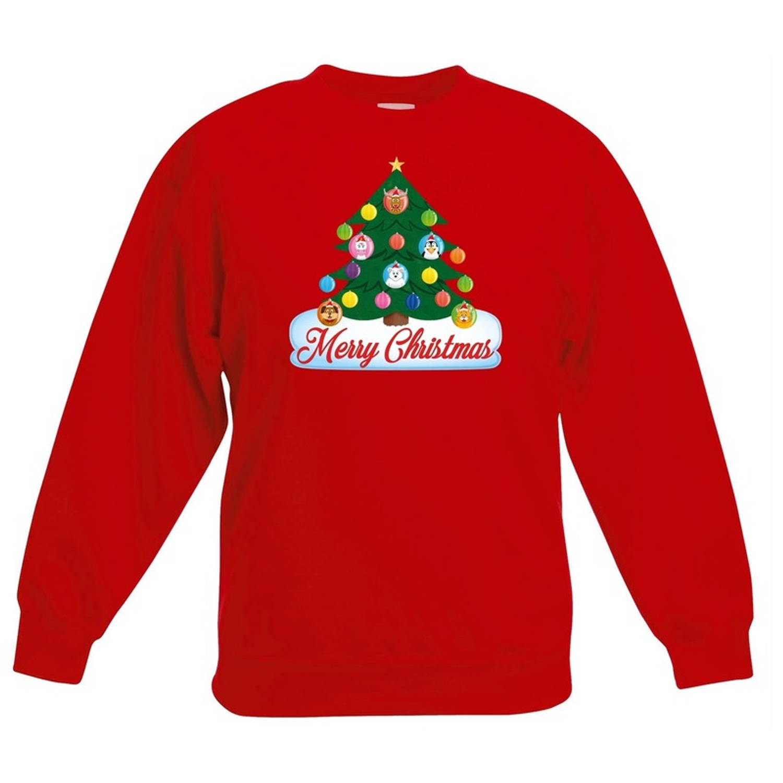 Kersttrui Kind.Rode Kersttrui Met Dierenvriendjes Kerstboom Voor Jongens En Meisjes