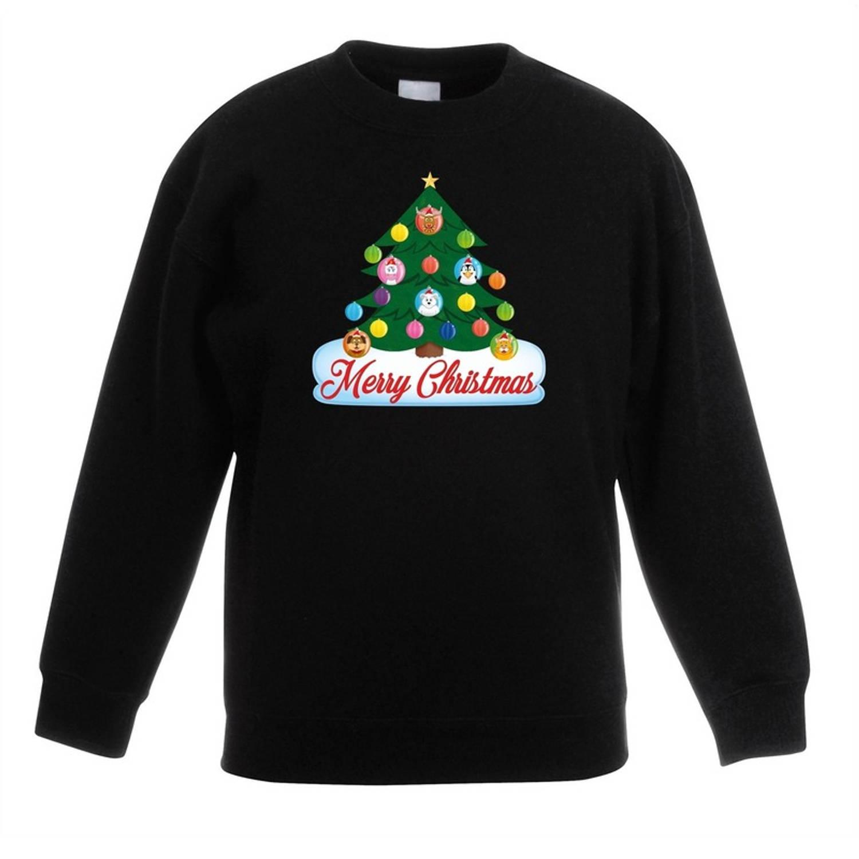 Zwarte kersttrui met dierenvriendjes kerstboom voor jongens en meisjes - Kersttruien kind 3-4 jaar (98/104)