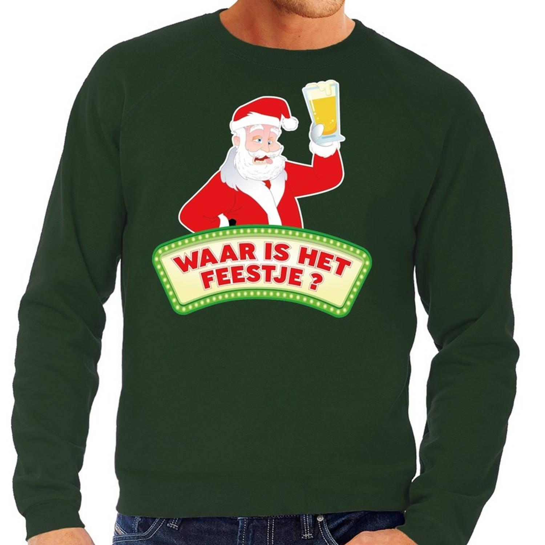 Foute kersttrui / sweater voor heren - groen - Dronken Kerstman met biertje L (52)