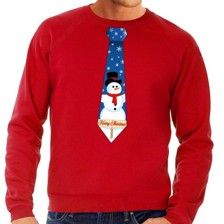 Foute kersttrui / sweater stropdas met sneeuwpop print rood voor heren 2XL (56)