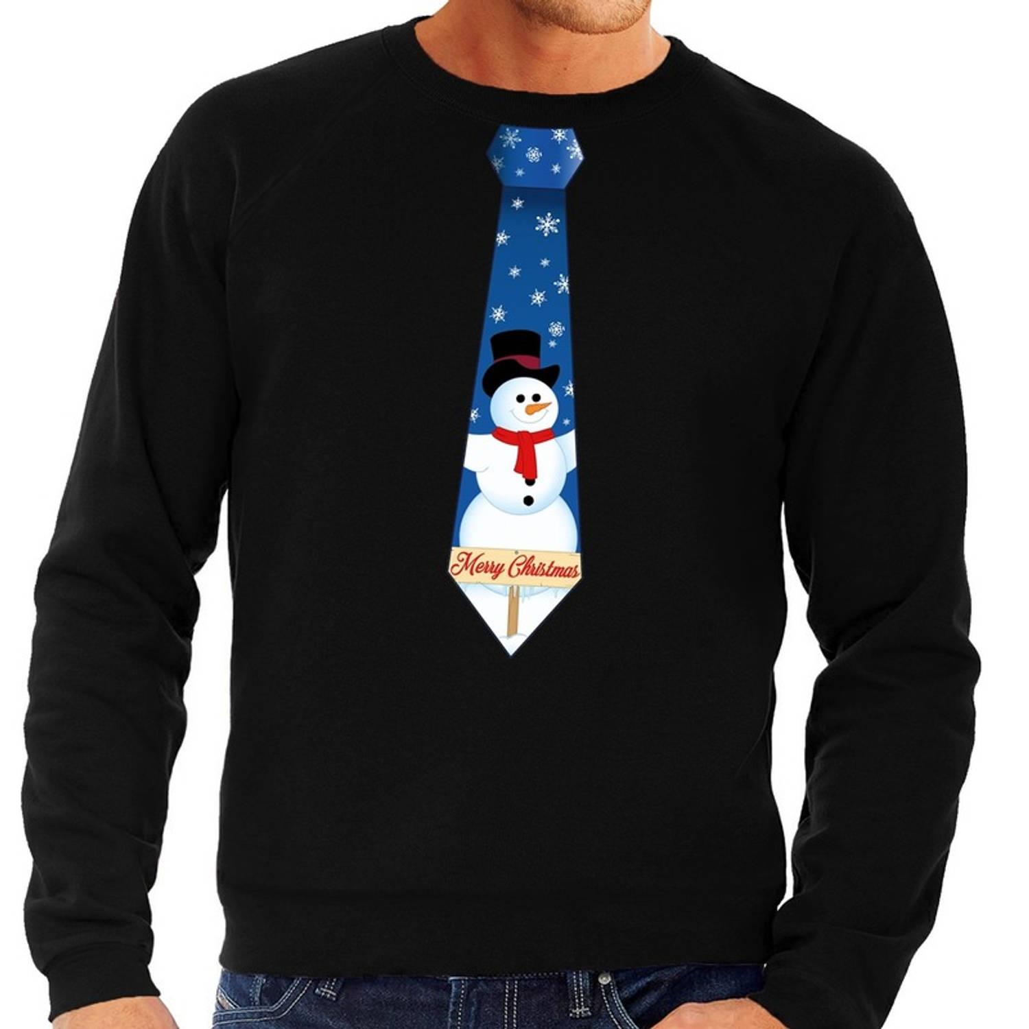 Foute kersttrui / sweater stropdas met sneeuwpop print zwart voor heren S (48)