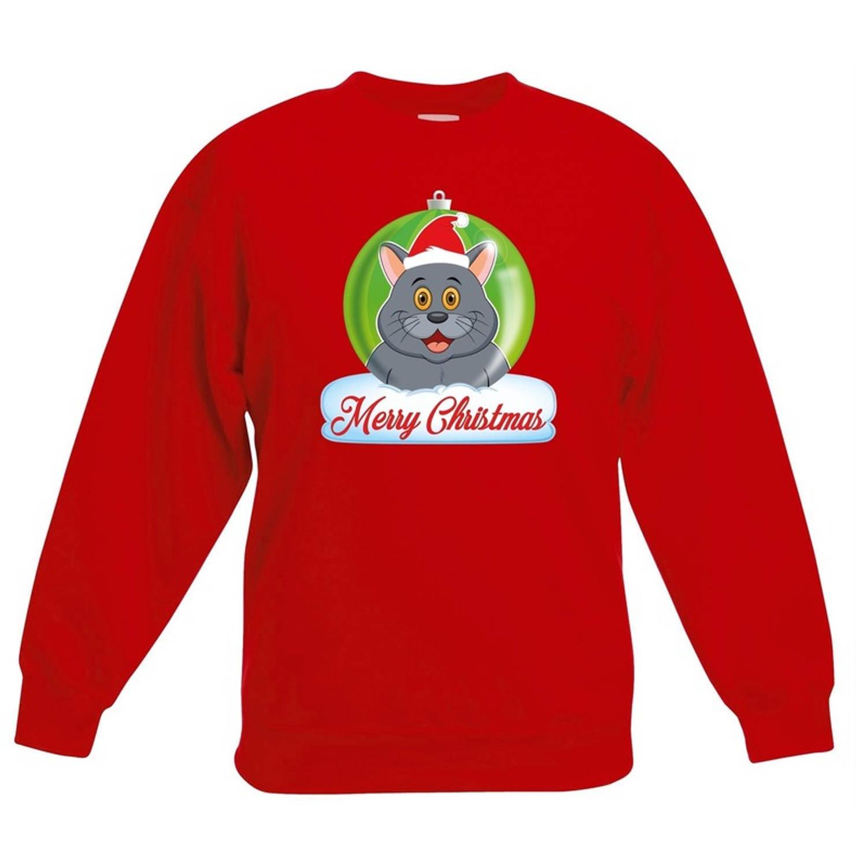 Kersttrui Merry Christmas grijze kat / poes kerstbal zwart jongens en meisjes - Kerstruien kind 9-11 jaar (134/146)
