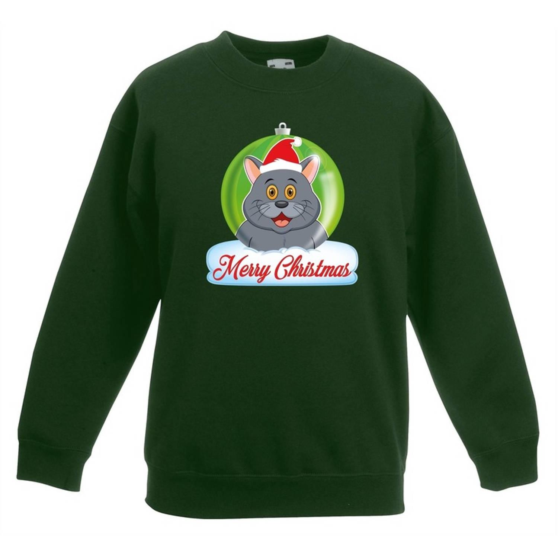 Kersttrui Merry Christmas grijze kat / poes kerstbal groen jongens en meisjes - Kerstruien kind 12-13 jaar (152/164)
