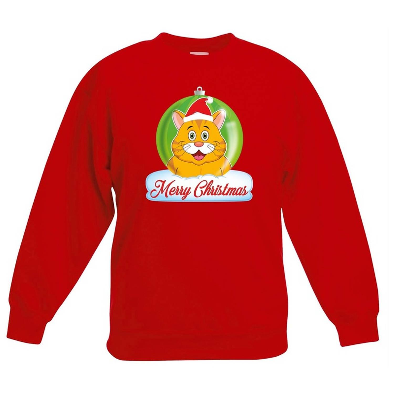 Kersttrui Merry Christmas oranje kat / poes kerstbal rood jongens en meisjes - Kerstruien kind 12-13 jaar (152/164)