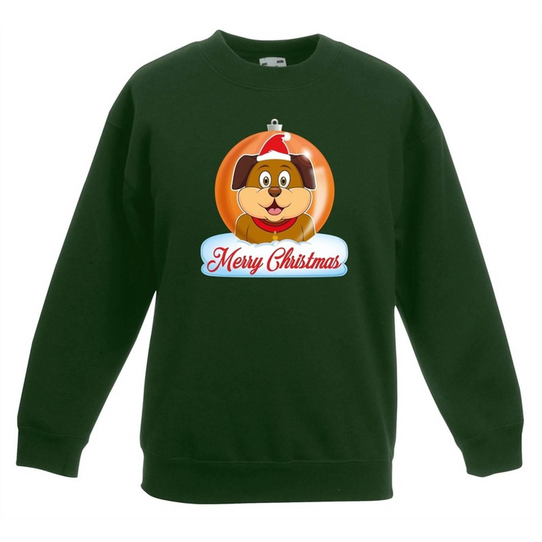 Kersttrui Merry Christmas hond kerstbal groen jongens en meisjes - Kerstruien kind 3-4 jaar (98/104)