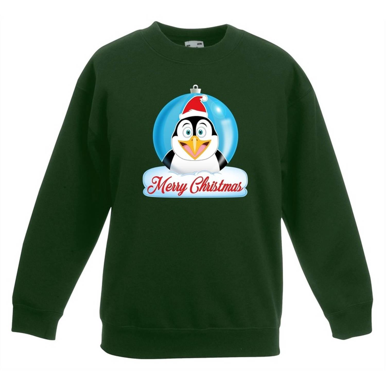 Kersttrui Merry Christmas pinguin kerstbal groen jongens en meisjes - Kerstruien kind 14-15 jaar (170/176)