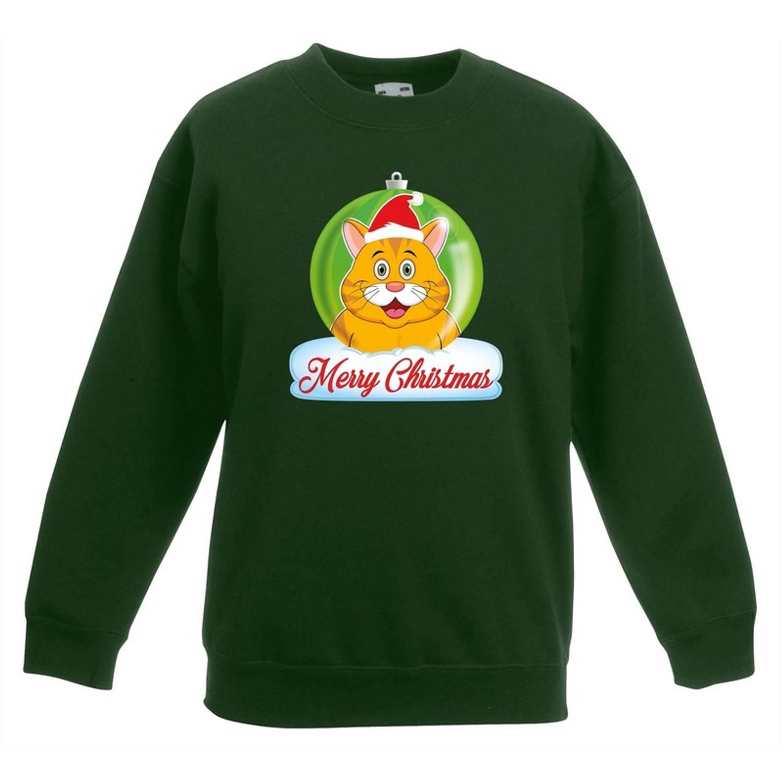 Kersttrui Merry Christmas oranje kat / poes kerstbal groen jongens en meisjes - Kerstruien kind 7-8 jaar (122/128)