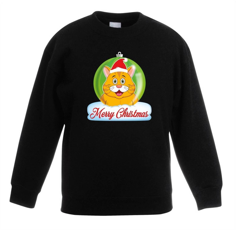 Kersttrui Merry Christmas oranje kat / poes kerstbal zwart jongens en meisjes - Kerstruien kind 12-13 jaar (152/164)