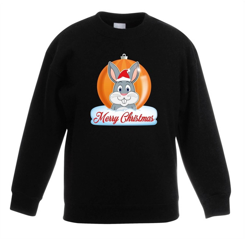 Kersttrui Merry Christmas konijn kerstbal zwart jongens en meisjes - Kerstruien kind 3-4 jaar (98/104)