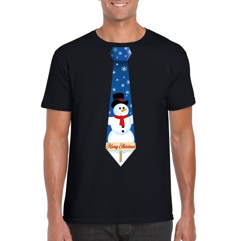 Zwart kerst T-shirt voor heren - Sneeuwpoppen stropdas print XL