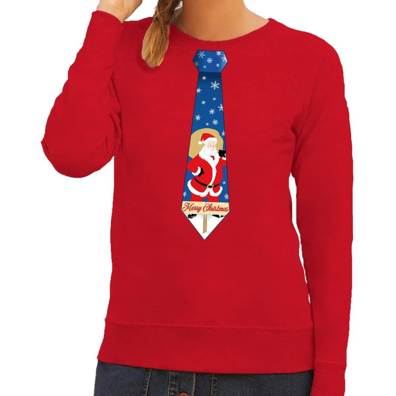 Foute kersttrui / sweater stropdas met kerstman print rood voor dames L (40)