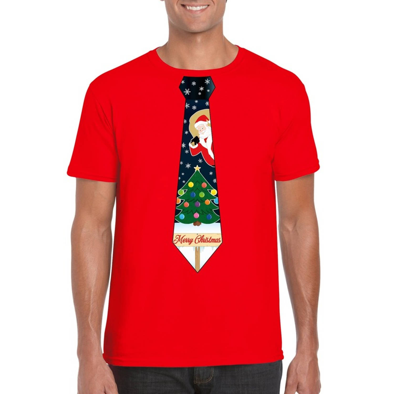 Rood kerst T-shirt voor heren - Kerstman en kerstboom stropdas print S