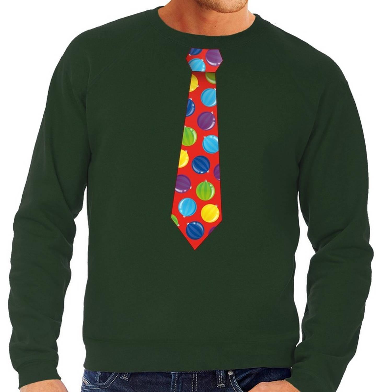 Foute kersttrui / sweater stropdas met kerstballen print groen voor heren 2XL (56)