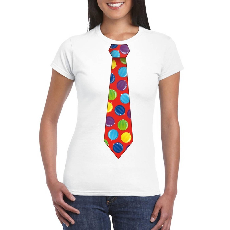 Foute Kerst t-shirt stropdas met kerstballen print wit voor dames XL