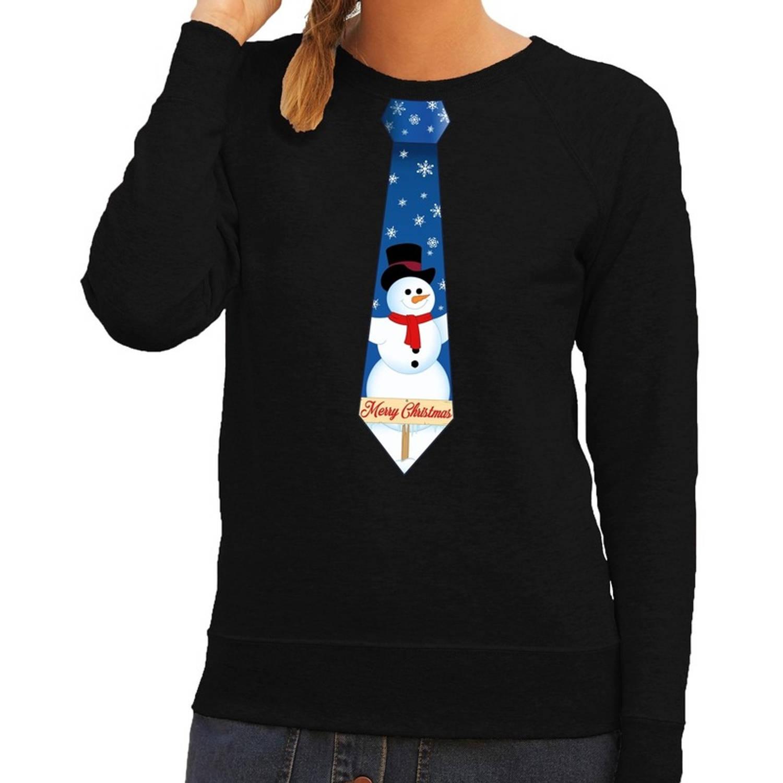 Foute kersttrui / sweater stropdas met sneeuwpop print zwart voor dames XS (34)