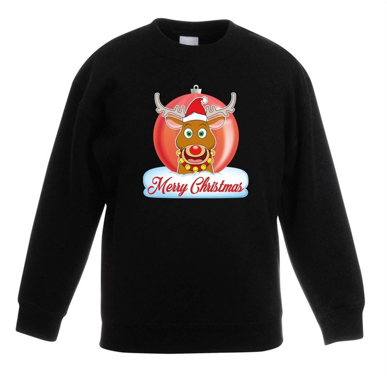 Kersttrui Merry Christmas rendier kerstbal zwart jongens en meisjes - Kerstruien kind 5-6 jaar (110/116)
