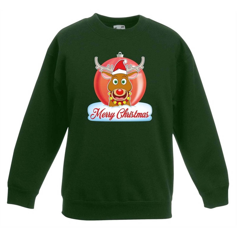 Kersttrui Merry Christmas rendier kerstbal groen jongens en meisjes - Kerstruien kind 7-8 jaar (122/128)