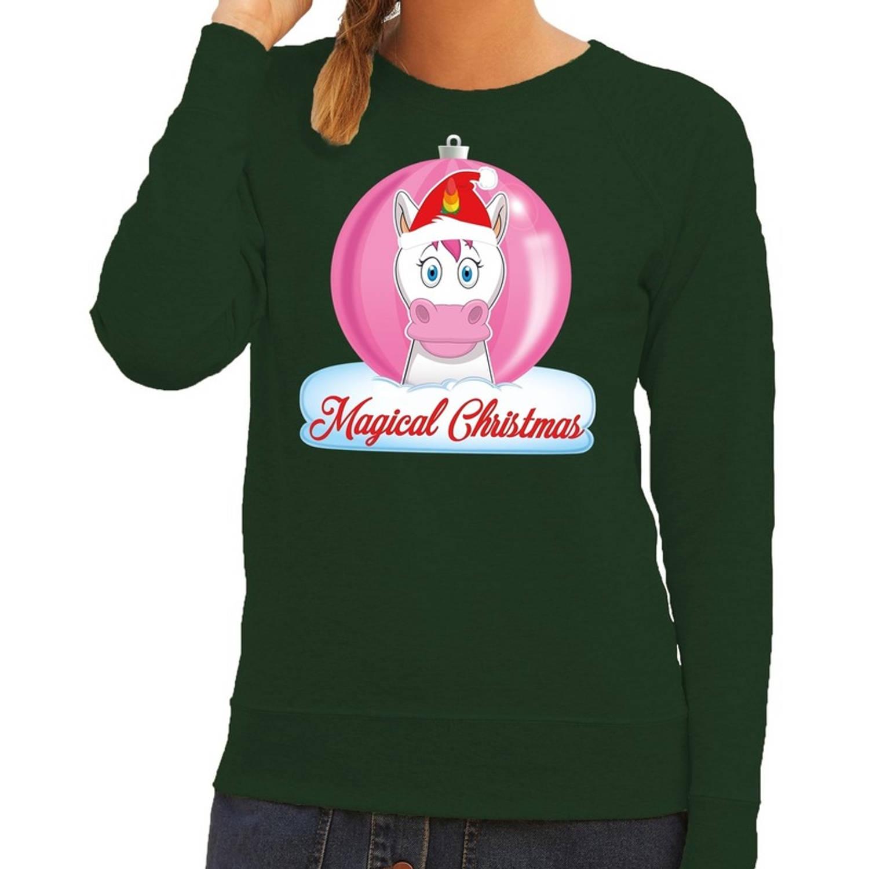Foute kersttrui eenhoorn magical christmas - groen - voor dames XS (34)
