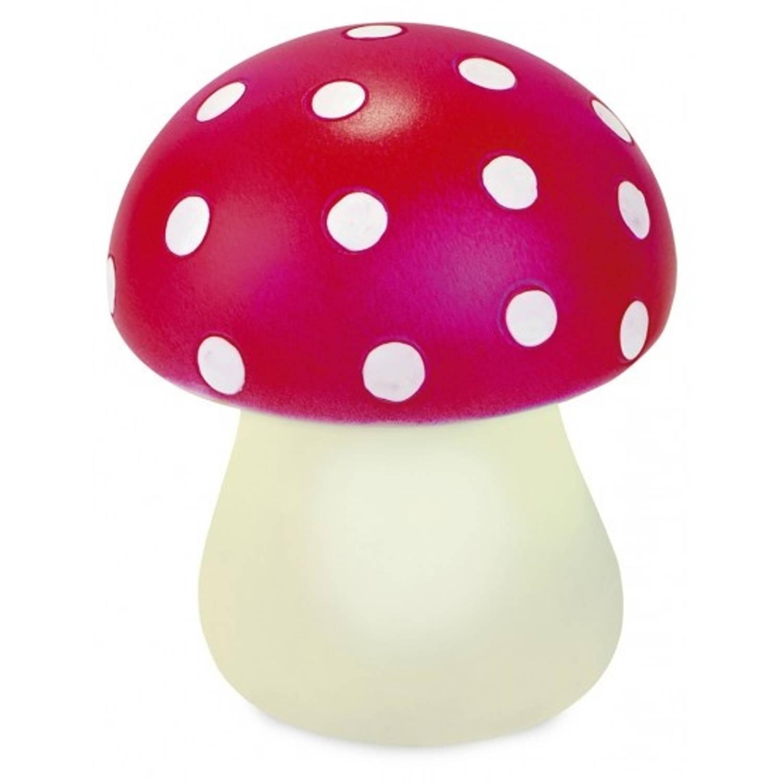 Moses nachtlampje paddenstoel 8,5 cm rood/wit