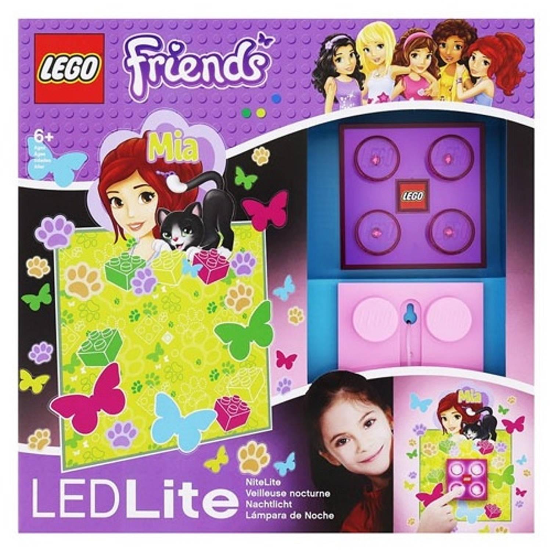 LEGO Friends: nachtlamp Mia 9 cm paars/roze