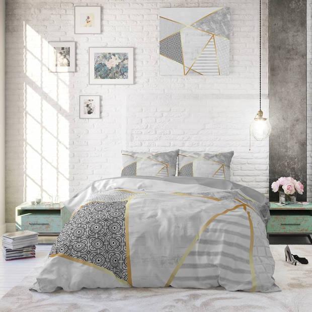 Dreamhouse Bedding Graphic dekbedovertrek - 100% katoen - Lits-jumeaux (240x200/220 cm + 2 slopen) - Wit