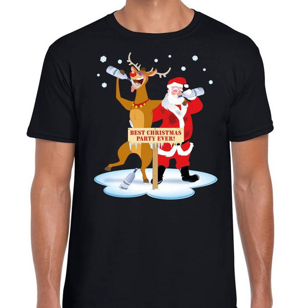 Foute Kerst t-shirt dronken kerstman en rendier Rudolf na kerstborrel/ feest zwart voor heren S
