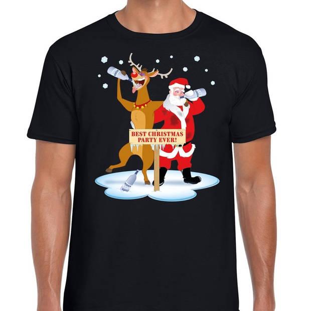 Foute Kerst t-shirt dronken kerstman en rendier Rudolf na kerstborrel/ feest zwart voor heren XL