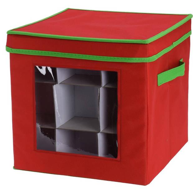 Rode kerstballen/kerstversiering opbergbox voor 48 kerstballen