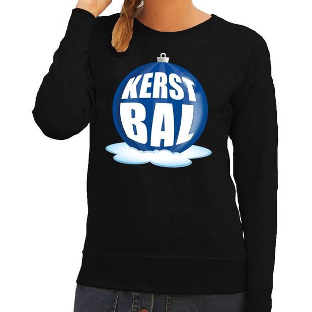 Foute kersttrui kerstbal blauw op zwarte sweater voor dames - kersttruien XL (54)