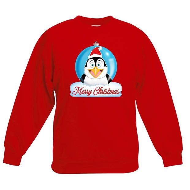 Kersttrui Merry Christmas pinguin kerstbal rood jongens en meisjes - Kerstruien kind 7-8 jaar (122/128)