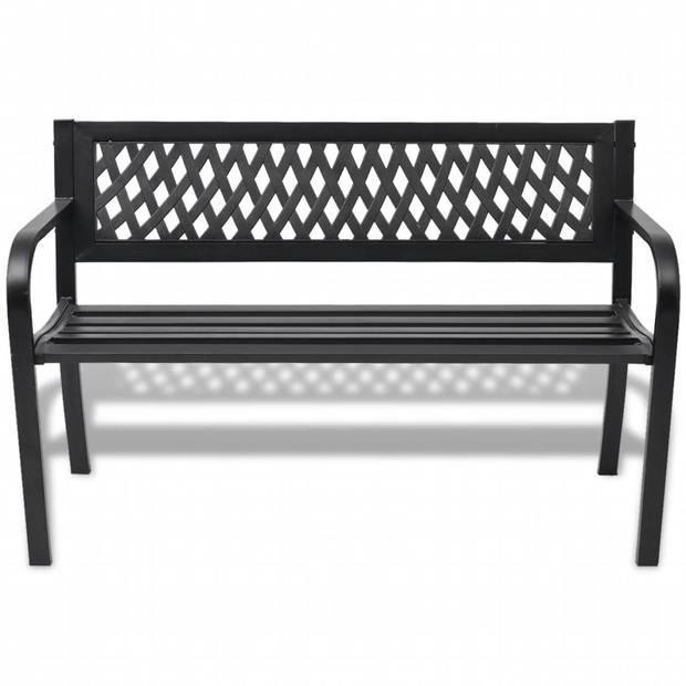 vidaXL Tuinbank 118 cm staal zwart
