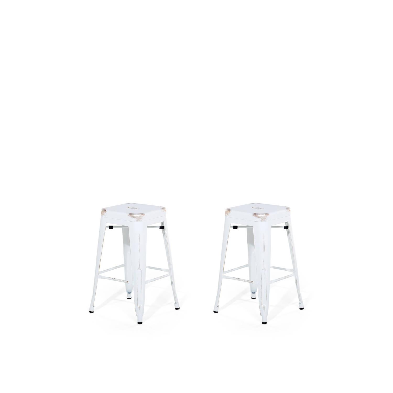 Beliani Cabrillo Kruk set van 2 Wit Metaal 40 x 40 x 60 cm