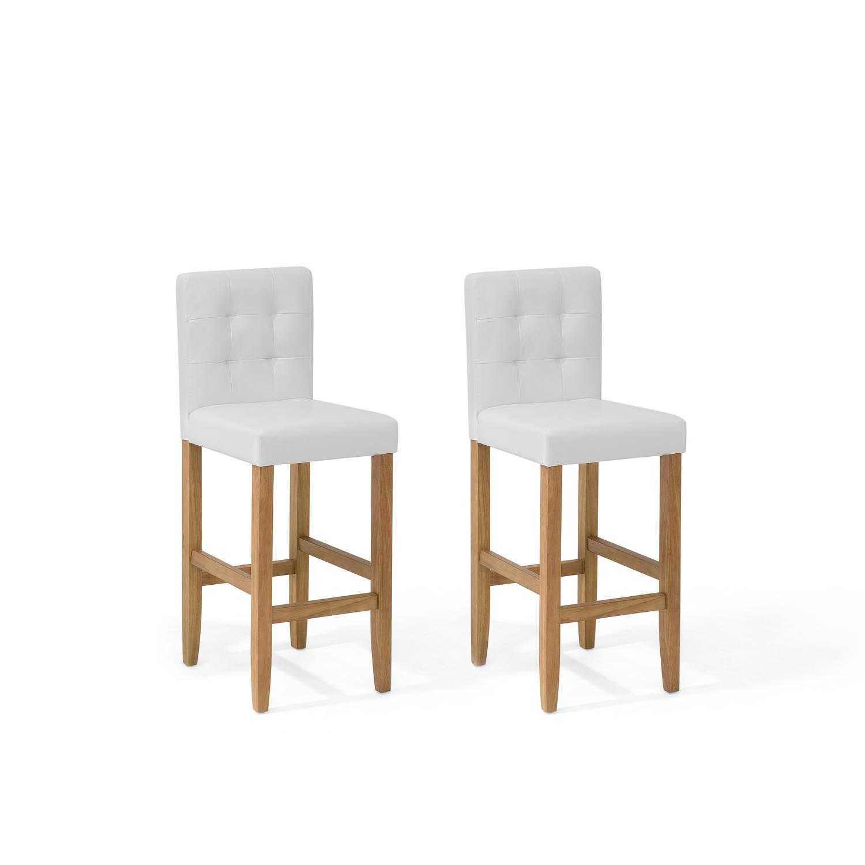 Beliani Madison Barkruk set van 2 Wit Kunstleer