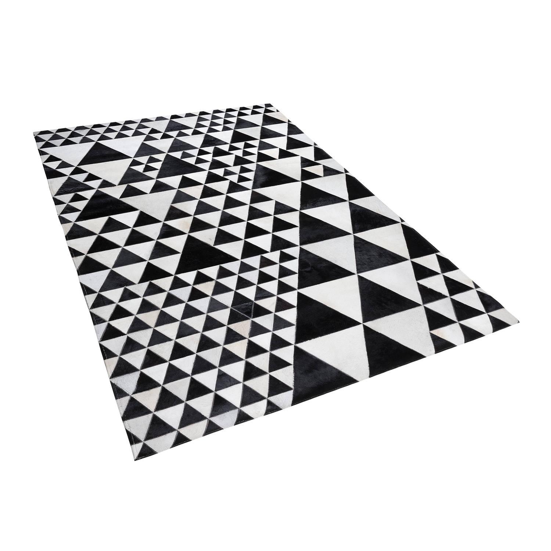 Beliani Odemis Tapijt Zwart Echt leer 160 x 230 cm