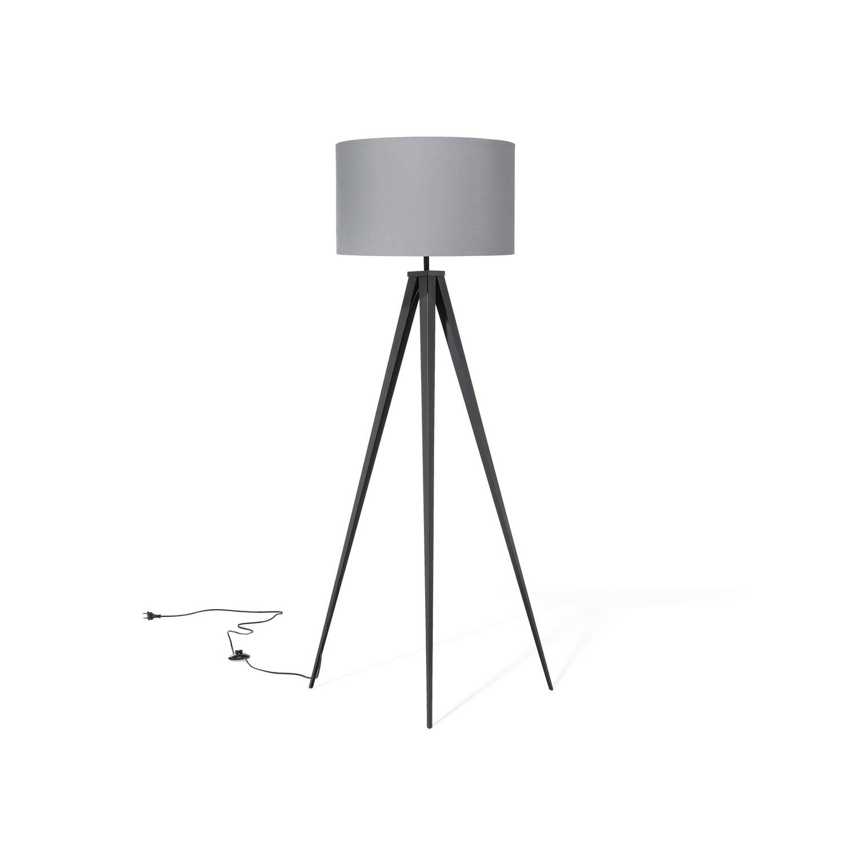 Beliani Stiletto Staande lamp Grijs Stof