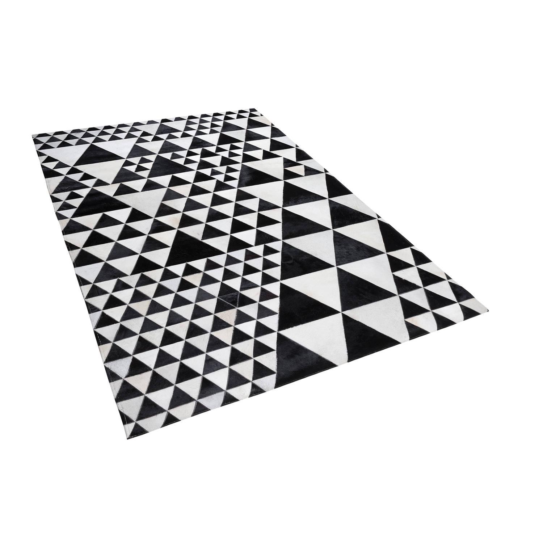 Beliani Odemis Tapijt Zwart Leer 140 x 200 cm