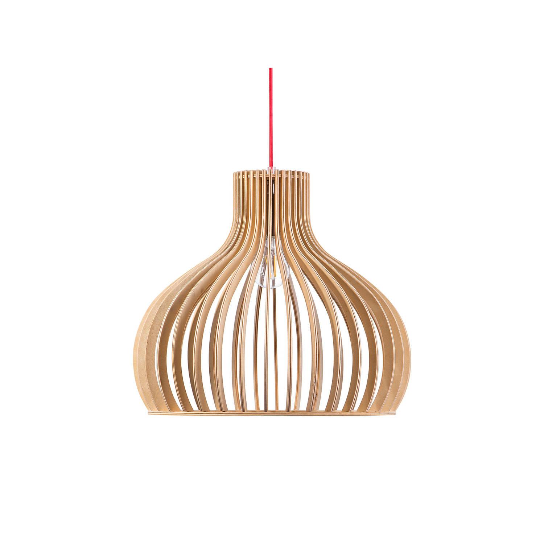 Beliani Malone Hanglamp Licht houtkleur Hout