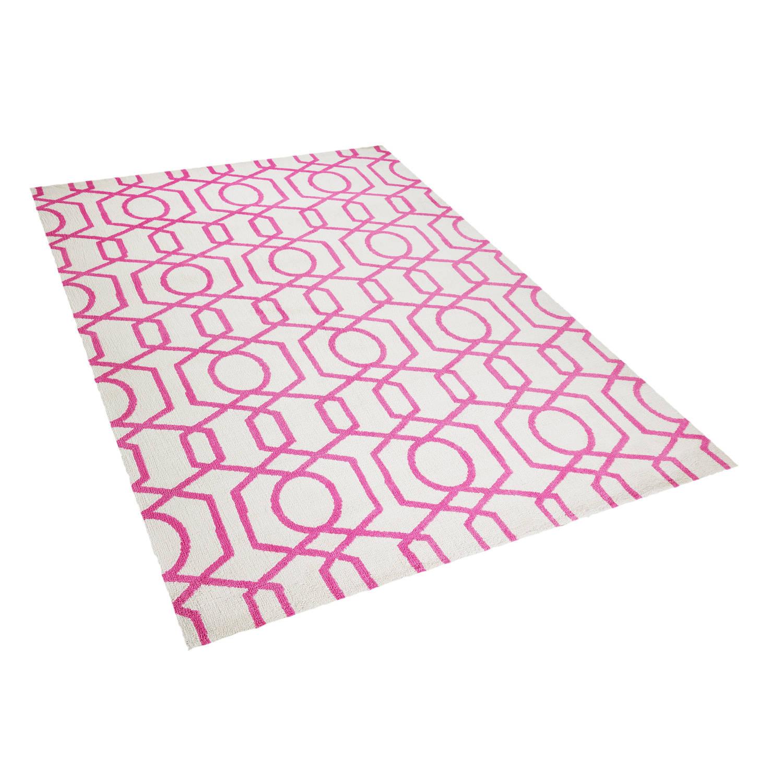 Beliani LAMIA Tapijt Roze Stof 160 x 230 cm