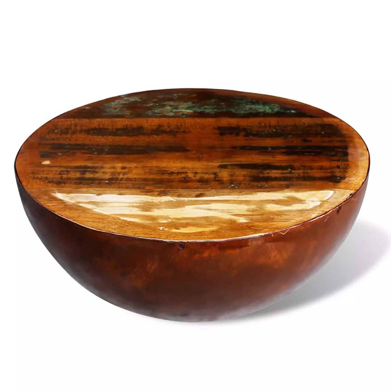 vidaXL Salontafel komvormig met stalen frame gerecycled hout