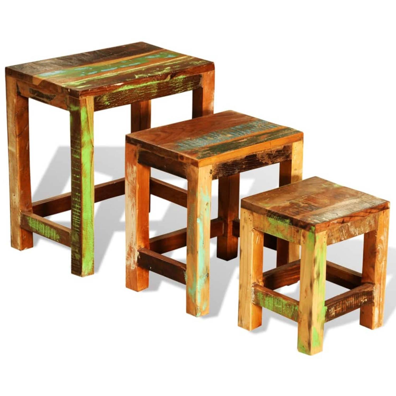 vidaXL Bijzettafeltjesset vintage-stijl gerecycled hout 3-delig