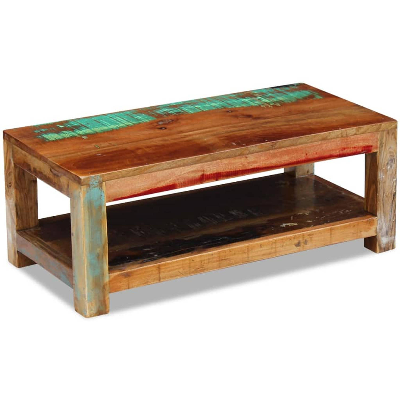 vidaXL Salontafel massief gerecycled hout 90x45x35 cm