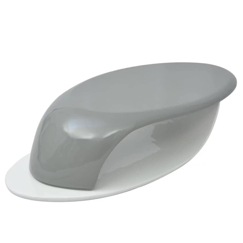 vidaXL Salontafel glasvezel hoogglans grijs en wit