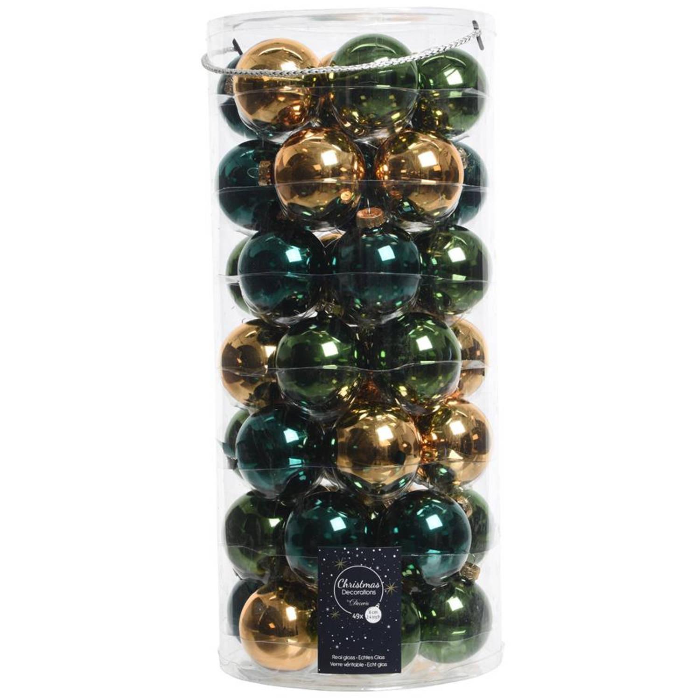 Glas Kerstballen Mix (6cm) Box 49 Stuks Groen